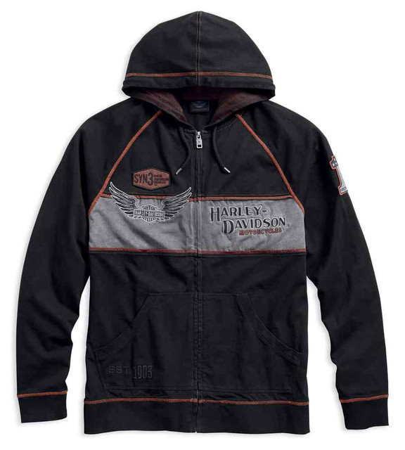 Harley-Davidson Men's Iron Block Distressed Zippered Hoodie, Black 99000-17VM - Wisconsin Harley-Davidson