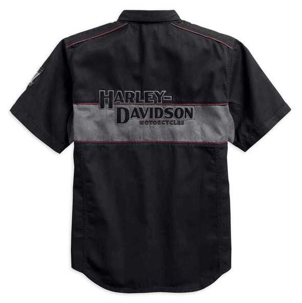 Harley-Davidson Men's Iron Block Short Sleeve Woven Shirt, Black 99018-17VM - Wisconsin Harley-Davidson