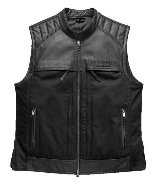 Harley-Davidson Men's Synthesis Pocket System Leather/Textile Vest 98120-17VM - Wisconsin Harley-Davidson