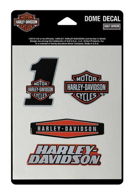 Harley-Davidson Reflective Assortment Dome Decals, 4 Decals, 4.5 x 7 in DC16630 - Wisconsin Harley-Davidson