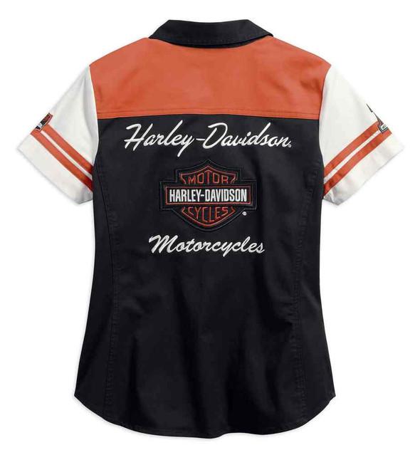 Harley-Davidson Women's Classic Colorblocked Zip Front Shirt 99170-17VW - Wisconsin Harley-Davidson