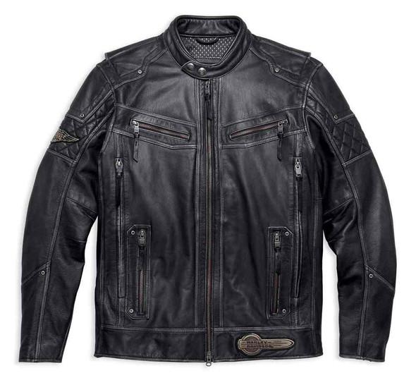 Harley-Davidson Men's Tifton Distressed Leather Jacket, Black 97138-17VM - Wisconsin Harley-Davidson