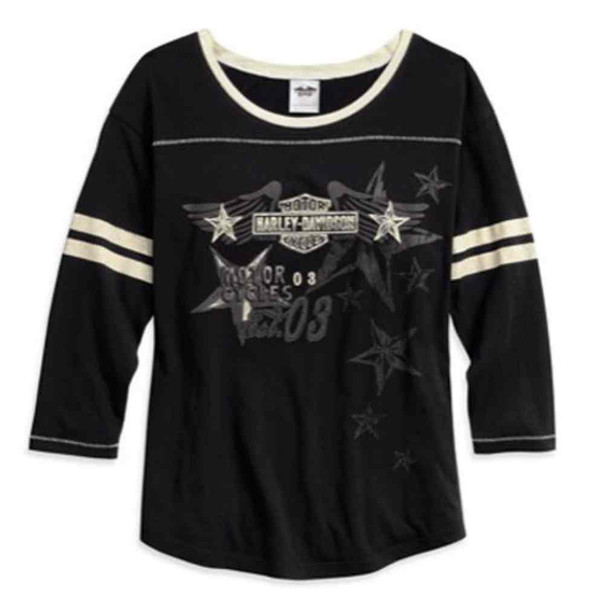 Harley-Davidson Women's Varsity Contrasting Sleep Tee, Black 97762-17VW - Wisconsin Harley-Davidson
