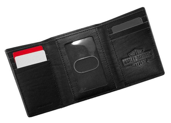 Harley-Davidson Men's Embossed Eagle Tri-Fold Leather Wallet, Black 99463-17VM - Wisconsin Harley-Davidson