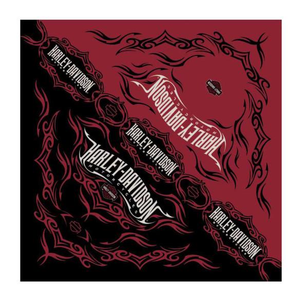 Harley-Davidson Men's Tribal Razor Bandana, Red & Black, 24 x 24 inch BA64132 - Wisconsin Harley-Davidson