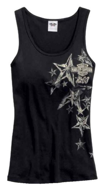 Harley-Davidson Women's Shimmer Eagle Star Sleep Tank Top, Black 97761-17VW - Wisconsin Harley-Davidson