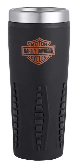 Harley-Davidson Bar & Shield Logo Travel Mug, 16 oz. Black Rubber Grip 99205-17V - Wisconsin Harley-Davidson