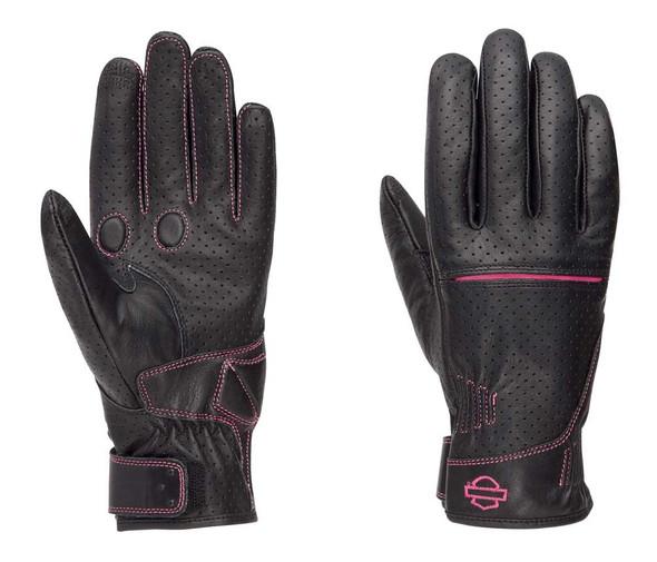 Harley-Davidson Women's Pink Label Perforated Full-Finger Gloves 98353-17VW - Wisconsin Harley-Davidson