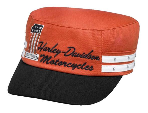 Harley-Davidson Women's #1 Colorblock Flat Top Cap, Vintage Orange 99566-17VW - Wisconsin Harley-Davidson