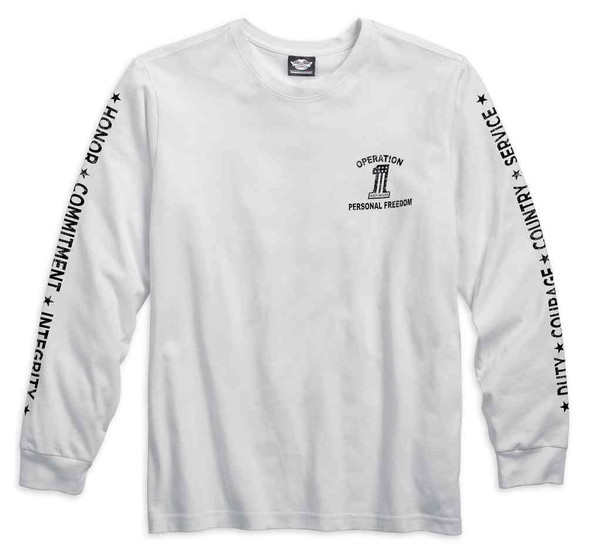 Harley-Davidson Men's Wounded Warrior Project Long Sleeve Tee, White 99062-16VM - Wisconsin Harley-Davidson