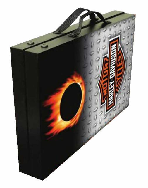 CORNHOLE Set BEANBAG TOSS GAME w Bags Motorcycle Harley Biker Flames Boards 61