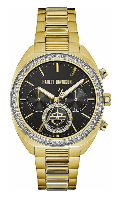 Harley-Davidson Women's Crystal Six-Hand Chronograph Watch, Gold-Tone 77M103 - Wisconsin Harley-Davidson