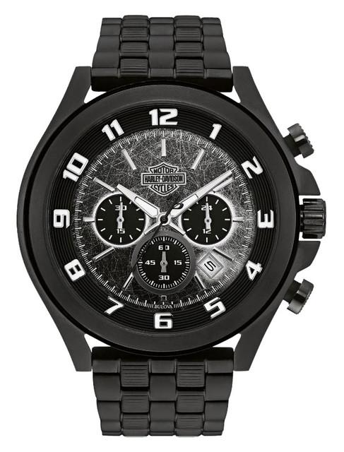Harley-Davidson Men's Six-Hand Chronograph Watch, Matte Black Finish 78B146 - Wisconsin Harley-Davidson