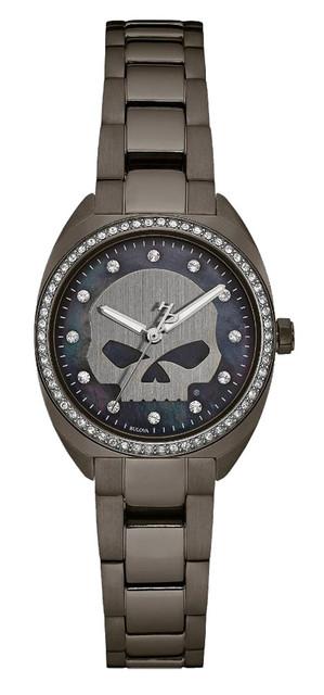 Harley-Davidson Women's Crystal Willie G Skull Watch, Gunmetal Finish 78L124 - Wisconsin Harley-Davidson
