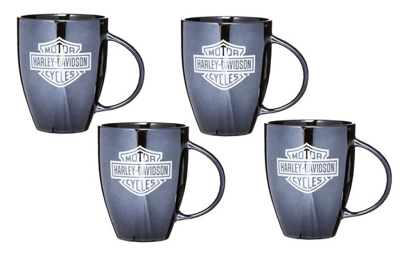 Harley-Davidson Bar & Shield Ceramic Coffee Mug, 18 oz Black - Set of 4 - Wisconsin Harley-Davidson