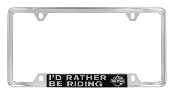 Harley-Davidson Bottom Rather Be Riding License Plate Frame, Chrome HDLFZ195-UF - Wisconsin Harley-Davidson