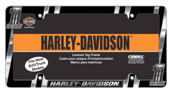 Harley-Davidson #1 Skull Dark Custom License Plate Frame, Chrome CG42526 - Wisconsin Harley-Davidson