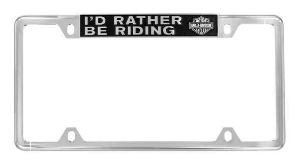 Harley-Davidson Raised Rather Be Riding License Plate Frame, Chrome HDLFZ195-U - Wisconsin Harley-Davidson