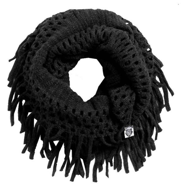 Harley-Davidson Women's Fringe Open Knit Infinity Scarf, Black 97775-17VW - Wisconsin Harley-Davidson