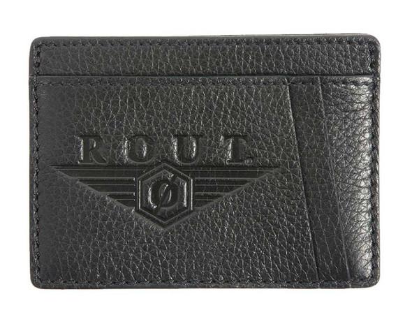 ROUT Voyager Embossed Front Pocket Wallet, Full Grain Black Leather RC10597 - Wisconsin Harley-Davidson