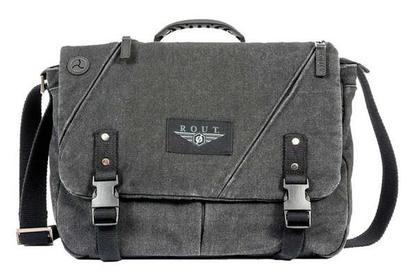 ROUT Voyager Messenger Bag, Washed Black Cotton Canvas & Leather Trim RC10525 - Wisconsin Harley-Davidson