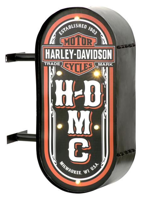 Harley-Davidson HDMC Marquee Lite-Up Pub Sign, Distressed Steel HDL-15516 - Wisconsin Harley-Davidson