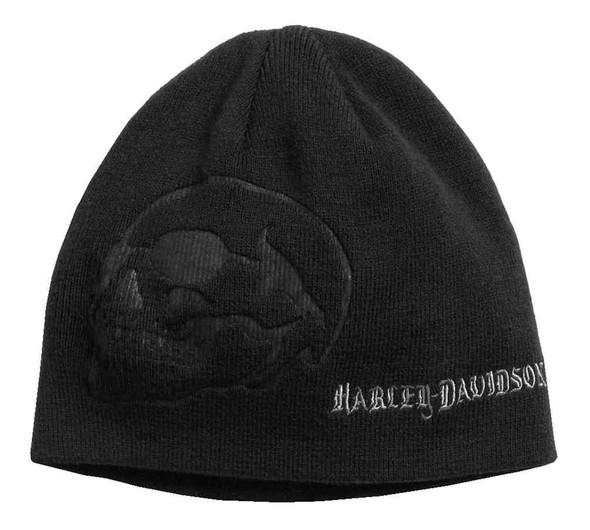 Harley-Davidson Men's Debossed Skull Knit Beanie Hat, Black 97610-17VM - Wisconsin Harley-Davidson