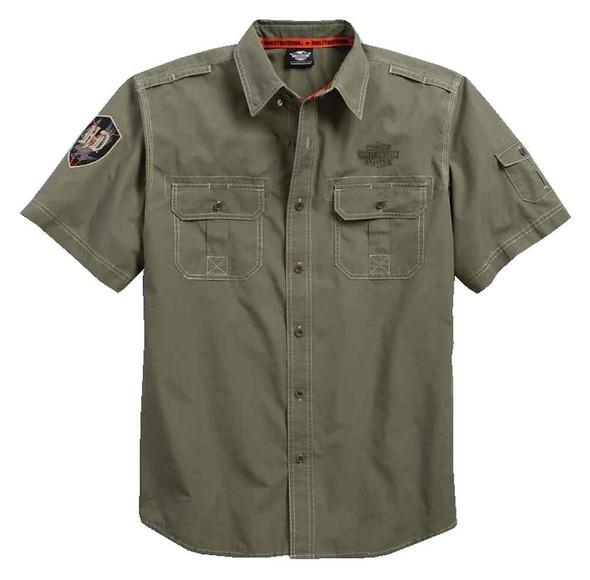 Harley-Davidson Men's Shadow Eagle Poplin Short Sleeve Woven Shirt 96423-17VM - Wisconsin Harley-Davidson