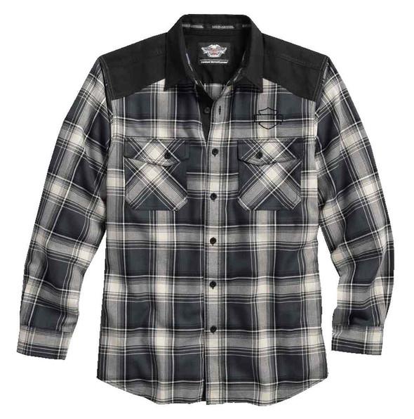 Harley-Davidson Men's Contrast Yoke Long Sleeve Plaid Woven Shirt 96421-17VM - Wisconsin Harley-Davidson
