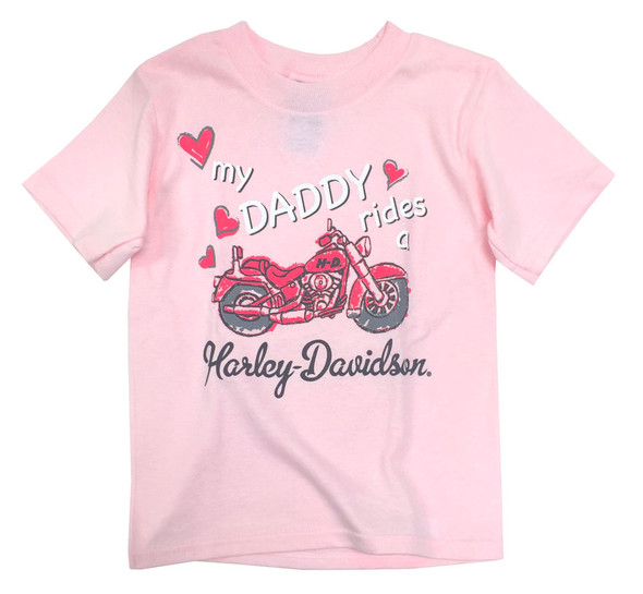 Harley-Davidson Little Girls' My Daddy Rides A Harley Short Sleeve Tee 1520687 - Wisconsin Harley-Davidson