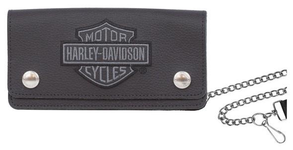Harley-Davidson Men's Embroidered B&S Tall Trucker Biker Wallet XML8705-GRYBLK - Wisconsin Harley-Davidson