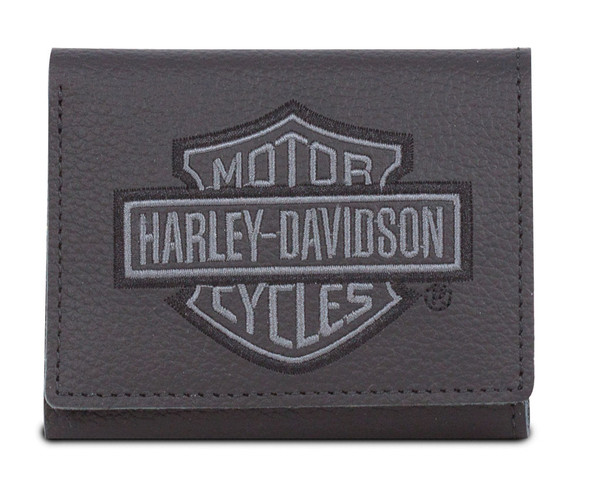 Harley-Davidson Men's Embroidered B&S Leather Tri-Fold Wallet XML8780-GRYBLK - Wisconsin Harley-Davidson