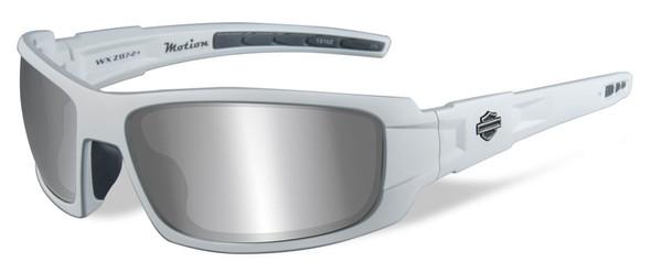 Harley-Davidson Men's Motion Sunglasses, Gray Lens / Matte White Frame HAMTN02 - Wisconsin Harley-Davidson