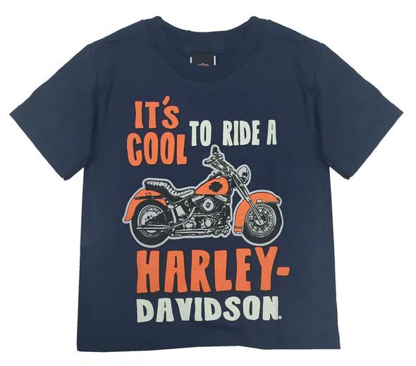 Harley-Davidson Little Boys' Cool To Ride Short Sleeve Tee, Navy Blue 1570677 - Wisconsin Harley-Davidson