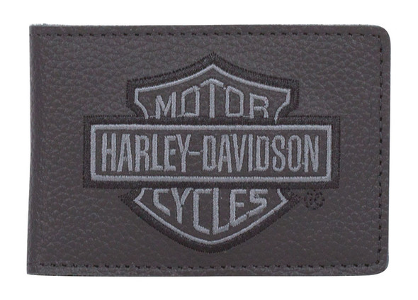Harley-Davidson Men's Embroidered B&S Leather Duo-Fold Wallet XML8798-GRYBLK - Wisconsin Harley-Davidson