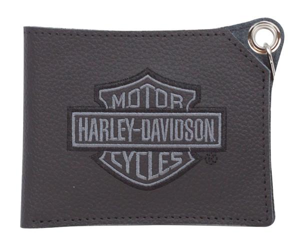 Harley-Davidson Men's Embroidered B&S Short Trucker Biker Wallet XML8731-GRYBLK - Wisconsin Harley-Davidson
