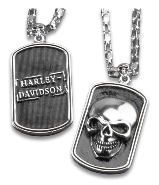 Harley-Davidson 3D Skull Heavy-Duty Premium Chain Dog Tag, Chrome 8005009 - Wisconsin Harley-Davidson