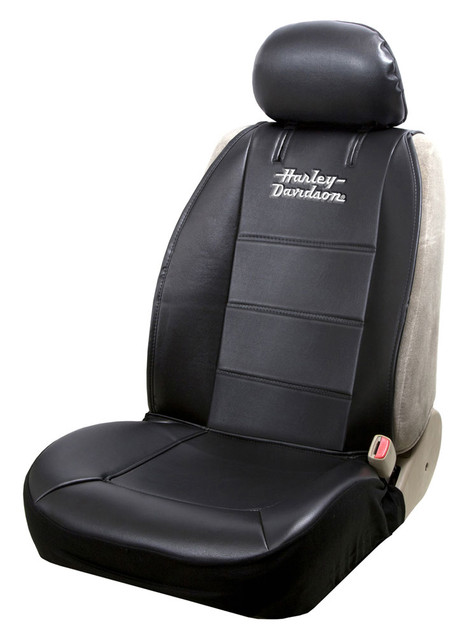 Harley-Davidson Stacked Logo Universal Sideless Seat Cover, Black – Single 8615 - Wisconsin Harley-Davidson