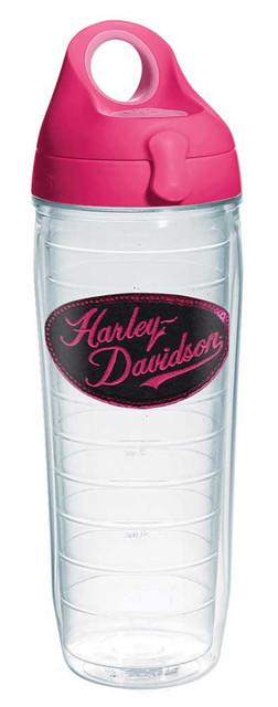 Harley-Davidson Sequin H-D Script Water Bottle w/ Pink Lid, 24oz. Bottle 1231543 - Wisconsin Harley-Davidson