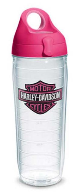 Harley-Davidson Bar & Shield Water Bottle w/ Pink Lid, 24 oz. Bottle 1231541 - Wisconsin Harley-Davidson