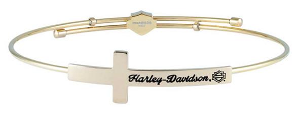 Harley-Davidson Women's Cross Gold Tone Bangle Bracelet, Stainless Steel HSB0131 - Wisconsin Harley-Davidson