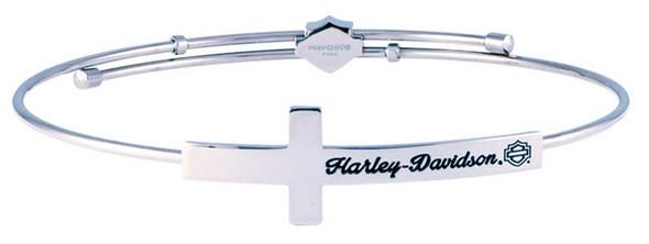 Harley-Davidson Women's H-D Cross Silver Tone Bangle, Stainless Steel HSB0130 - Wisconsin Harley-Davidson