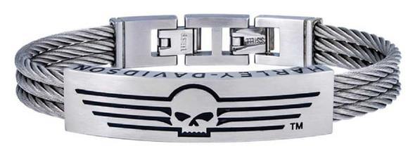 Harley-Davidson Men's Wing Skull Triple Wire ID Bracelet, Silver Steel HSB0145 - Wisconsin Harley-Davidson