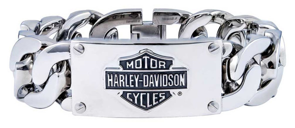Harley-Davidson Men's Bar & Shield Logo Curb Link ID Bracelet, Steel HSB0143 - Wisconsin Harley-Davidson