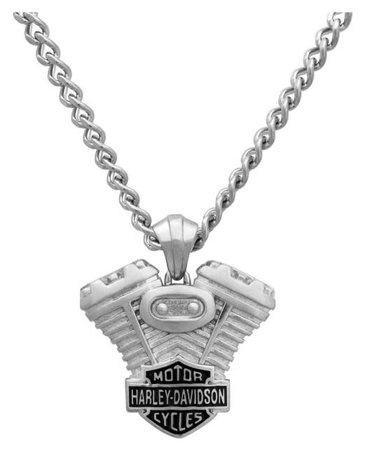 Harley-Davidson Men's V-Twin B&S Engine Necklace, Stainless Steel HSN0008-22 - Wisconsin Harley-Davidson