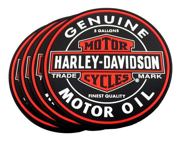 Harley-Davidson Genuine Bar & Shield Oil Can PVC Coaster Set, Set of 4, 210040 - Wisconsin Harley-Davidson