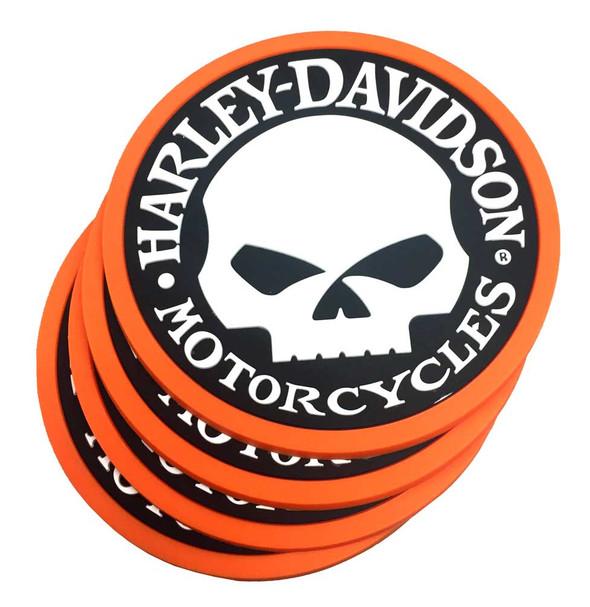 Harley-Davidson Willie G Skull Logo PVC Rubber Coaster Set, Set of 4, 210039 - Wisconsin Harley-Davidson