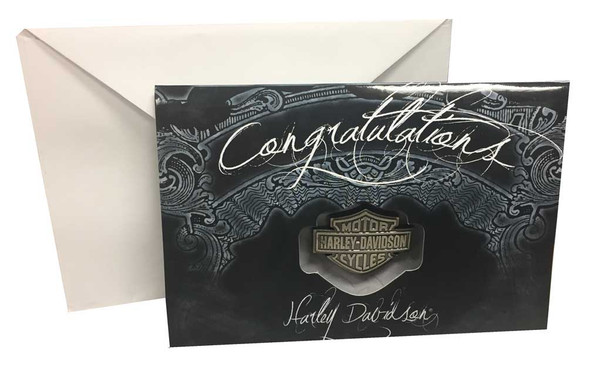 Harley-Davidson Congratulations Greeting Card & Bar & Shield Pin Set 119394 - Wisconsin Harley-Davidson