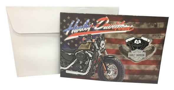 Harley-Davidson American Flag Greeting Card & Winged V-Twin Pin Set 151849 - Wisconsin Harley-Davidson