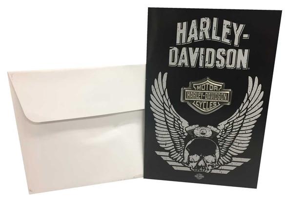 Harley-Davidson Distressed Wing Skull Greeting Card w/ Bar & Shield Pin 199222 - Wisconsin Harley-Davidson